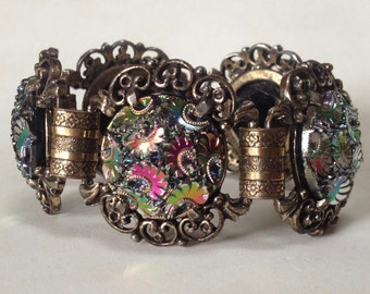 Iridescent Carnival Glass Bracelet and Earrings – Vintage 1960s Judy Lee