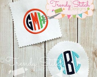 Natural Circle Brick Font machine embroidery design INSTANT DOWNLOAD bx Monogram
