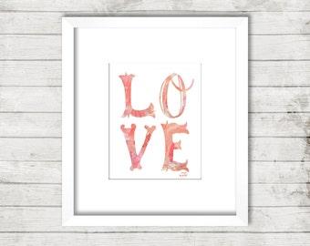 Love 11 x 14 Peach Art Print