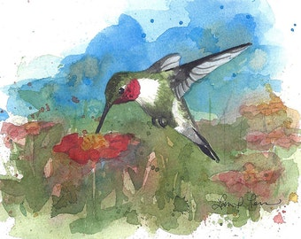 Humingbird Watercolor Painting - Fine Art Archival Print - Limited Edition Bird Art by Laura D. Poss