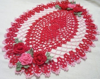 crocheted oval doily red pink  handmade home decor gifts Mother's day wedding