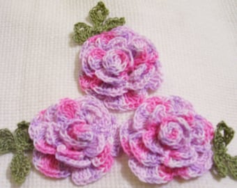 3 roses flowers purple pink appliques scrapbooking sewn on home decor handmade embellishments