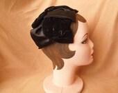 END of SUMMER SALE Hat Sale...Vintage 50's Black Hat, Fancy Satin and Velvet Topper, Rockabilly, Mid Century, Osfa