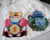 2 Vintage Asian Fabric Wall Decor. Fabric Pockets.