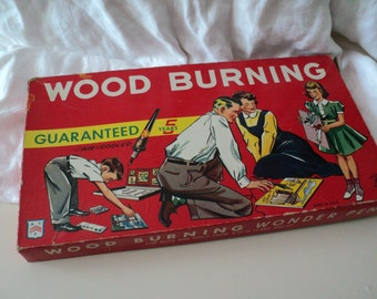 Vintage 1950s Wood Burning Set by American Toys, Chicago. Original Box with Great Graphics.