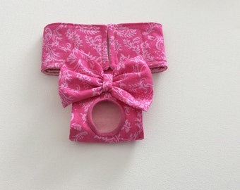 Female Dog Diaper - Panty - Britches - Nappy - Pink Scroll - Available in all Sizes