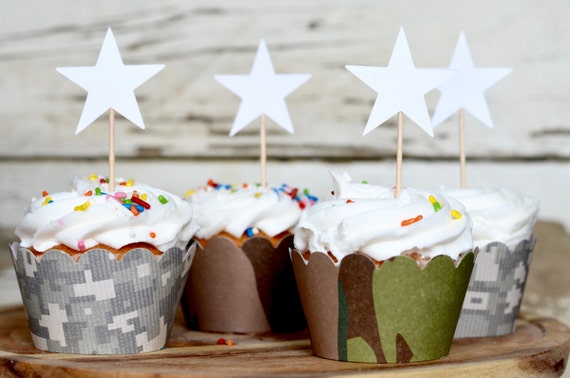 Army Camo Cupcake Wrappers, in modern and classic camo patterns