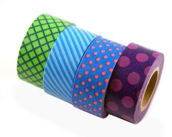 MASTE rainbow washi masking tape set - set of 4 green, blue, purple grid, stripes & polka dots- Japanese washi tape