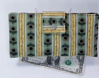 Sunflower Wallet, Fabric Womens Wallet, Handmade Wallet, Bifold Wallet, Green Yellow Clutch