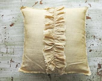 Linen pillow ruffle pillow beige neutral throw pillow removable pillow cover spring decor