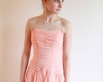 ON SALE vintage 50s dress - 1950s ruched dress - peach prom dress xs
