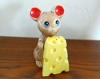 Salt and Pepper Shakers - Vintage Mouse and Cheese Salt and Pepper Shakers