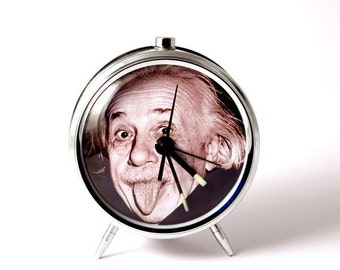 25 OFF SALE Alarm clock Albert Einstein tongue mechanical alarm clock handmade
