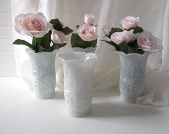 Milk Glass Vase Set of 4 White Vases Wedding Decor Hazel Atlas Vintage Wedding Centerpieces Table Decor