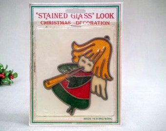 "Vintage Christmas Angel Ornament or Sun Catcher, ""Stained Glass Look"" Christmas Angel Decoration, Sealed in Original Package, 1970s Vintage"