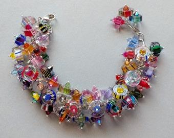 Multicolor Art Glass, Furnace Glass, Cane Glass, Austrian Crystal Dangle, Pewter Bead Slice Charm Bracelet