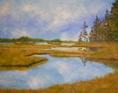 Salt Water Marsh, Maine -...