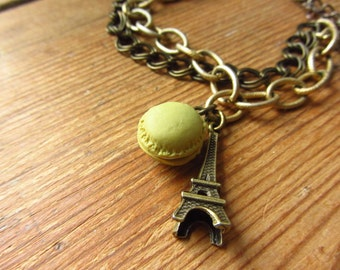 Brass Eiffel Tower Bracelet, Paris Bracelet, Mararon Charm Bracelet, Paris Jewelry, Macaroon Bracelet, Upcycled Eiffel Tower Jewelry