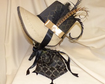 Black and Tan Stovepipe Bonnet and Reticule- Regency, Georgian, Jane Austen Era Bonnet and Purse