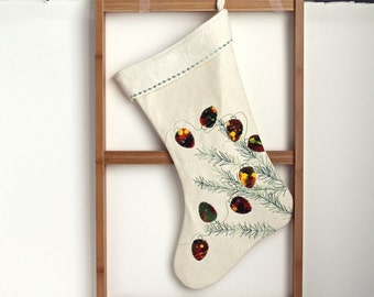 Christmas stocking, christmas lights and pine branches, christmas tree stocking hand painted, quilted, organic heirloom quality