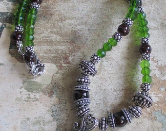 Peridot Quartz and Garnet Sterling bali Necklace --Peridot bali Sterling Pendant