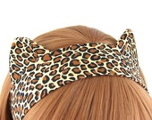 Cat Ears Headband Leopard Print Fabric Headband
