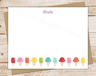 PRINTABLE ice cream note cards . notecards . ice cream cone . FLAT personalized stationery . girls thank you . You Print