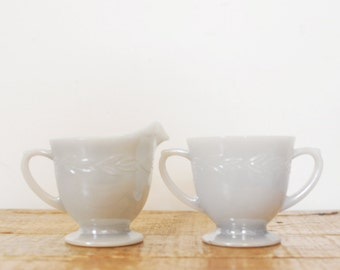 Vintage Fire King Dove Gray Creamer and Sugar Set Laurel Leaf