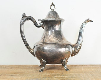Vintage Tarnished Silver Plated Coffee Pot Oneida Silverplate Teapot Ornate Silver Service Tea Party Home Decor