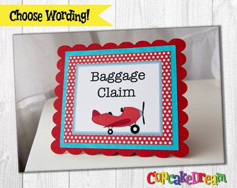 Airplane Birthday, Baggage Claim Sign, Gift Table Sign