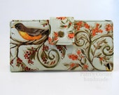 Handmade women wallet clutch - Birds on branches, with small flowers - ID clear pocket - Ready to ship - soft green - Gift ideas for her