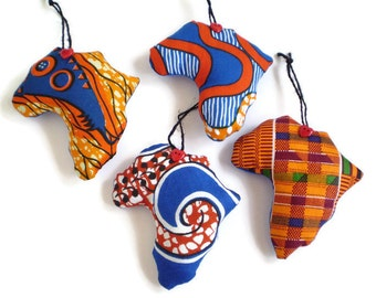 RESERVED African Fabric Ornaments, Africa Ornaments, Love Africa Ornaments, African Decor, Blue Orange African Ornaments