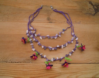 crochet flower necklace, purple pink flower, turkish oya