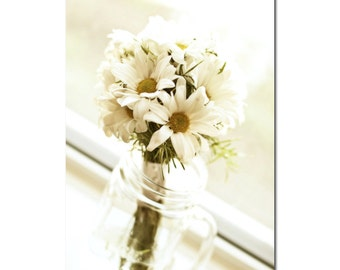 Summer Bouquet Photography, Ivory Daisies in a Mason Jar, Cream Flower Accent, Spring Kitchen Decor, 8x10, 11x14, 8x12 or 12x18 Inches