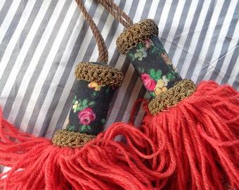 "Vintage ""Old World"" red wool & calico tassels"