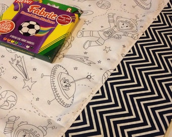 Color your own pillowcase in Out of this World space fabric. Case ONLY