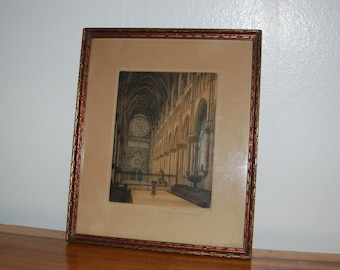 Victor Valery (1889-1910) signed framed Cathedral De Reims Interior Color Etching ~ believe view of the western end of the Reims Cathedral