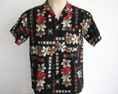 RESERVED - Vintage 50s Hawaiian Black & Red Plumeria Tropical Print Cotton Tiki Luau Mens Shirt