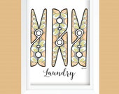 Clothespin Laundry Room Wall Art Printable - Laundry Room Decor - Instant Download - Gray, Orange, Mint, Peacock Blue - 8x10 and 11x14