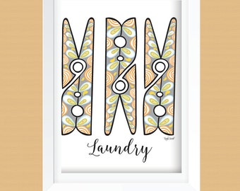 Clothespin Laundry Room Wall Art Printable - Laundry Room Decor - Laundry Room Prints - Instant Download -  8x10 and 11x14