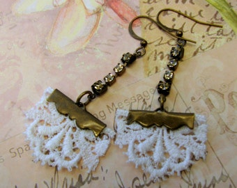 Romantic Lace Earrings - White Lace Earrings - Altered Lace Earrings