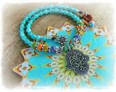 Boho HAMSA NECKLACE Protection Amulet Colorful Hippie Gypsy Yoga Chic jewelry Aqua Quartzite Women fashion Fatima Hand short necklace GPyoga
