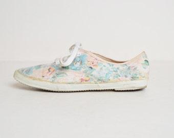 Vintage 80s Floral Lace Up Sneakers / 1980s Floral Print Lace Shoes 10