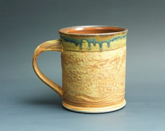 Handmade pottery coffee mug tea cup 14 oz, orange rust tea cup 3353