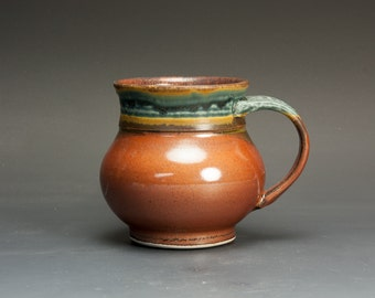 Handmade pottery coffee mug, ceramic mug, stoneware mug, teacup, 10 oz. tea cup brick red, 3008