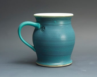 Handmade stoneware coffee mug or teacup turquoise blue 16 oz 3083