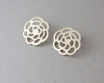 Large Brass Floral Earrings