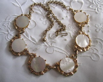 Vintage Gold Tone Choker Style Necklace with Round White Glass Settings