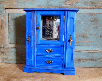 Jewelry Box Cobalt Blue Distressed Wooden Painted