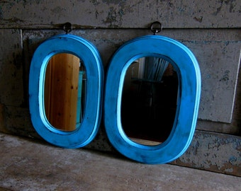 Set of 2 Mirrors Wood Frame Turquoise Distressed